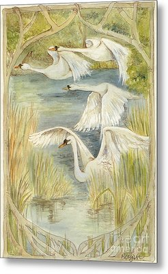 Flying Swans Metal Print by Morgan Fitzsimons
