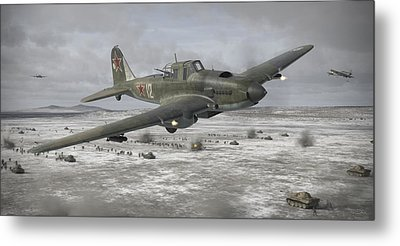 Flying Tank Metal Print