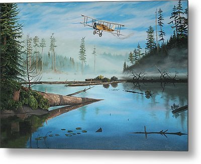 Flying The Mail Metal Print by Kenneth Young