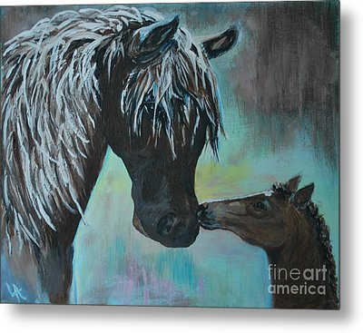 Metal Print featuring the painting Foal Kiss by Leslie Allen