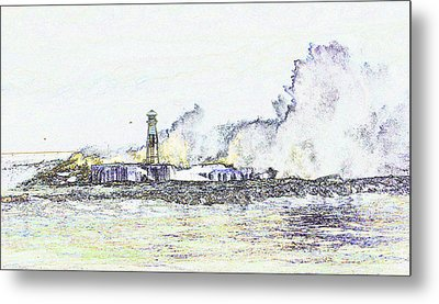 Metal Print featuring the photograph Foamy Sea At The Breakwater by Nareeta Martin