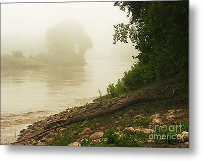 Fog Along The Red Metal Print by Steve Augustin