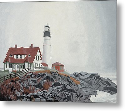 Fog Approaching Portland Head Light Metal Print by Dominic White