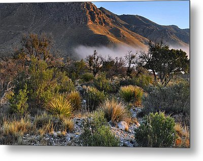 Fog At Sunrise - Guadalupe Mountains Metal Print by Stephen  Vecchiotti