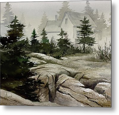 Metal Print featuring the painting Fog At The Coast by James Williamson