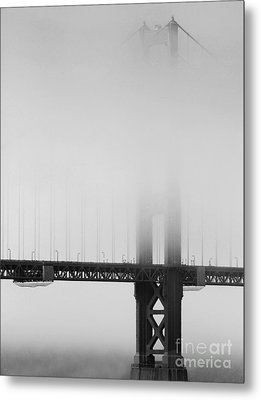 Fog At The Golden Gate Bridge 4 - Black And White Metal Print by Wingsdomain Art and Photography