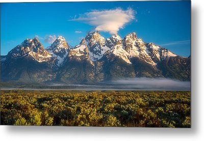Fog At The Tetons Metal Print