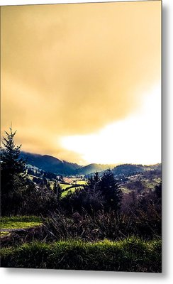 Fog Over Farmland Metal Print