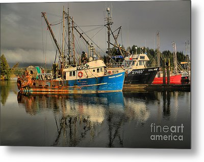 Fog Over Ucluelet Fishing Port Metal Print by Adam Jewell