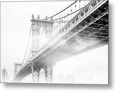 Fog Under The Manhattan Bw Metal Print by Az Jackson
