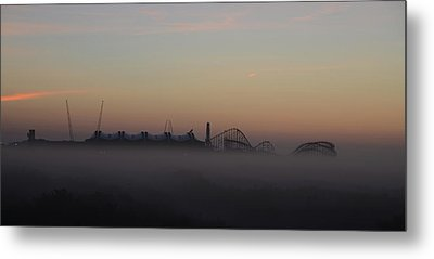 Foggy Beach In Wildwood Metal Print