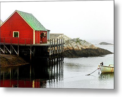 Foggy Day On The Atlantic Ocean Metal Print by Elaine Manley