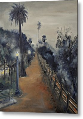 Metal Print featuring the painting Foggy Day On Ocean Ave by Lindsay Frost