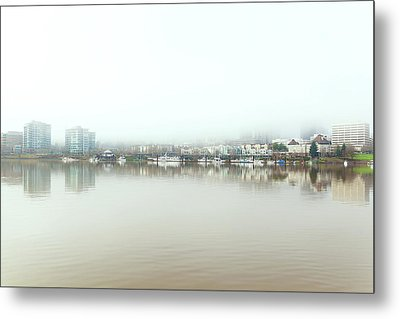 Foggy Day On Portland Downtown Waterfront Metal Print