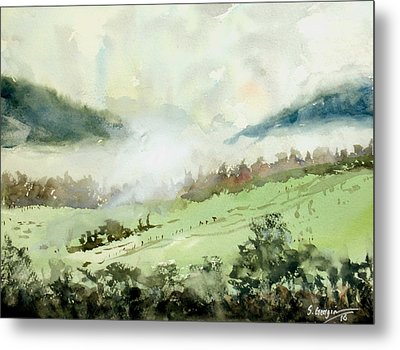 Foggy Day At Boonah, Australia Metal Print