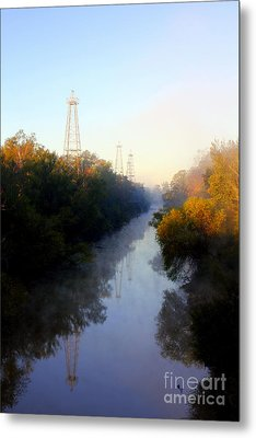 Foggy Fall Morning On The Sabine River Metal Print by Kathy  White