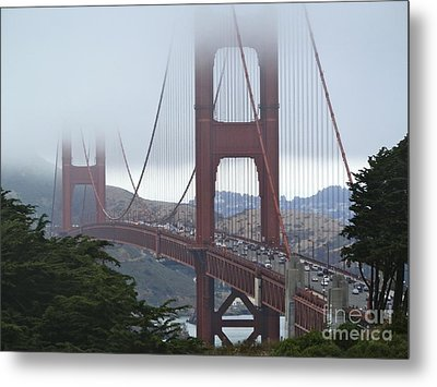 Foggy Golden Gate Metal Print by Margaret Brooks