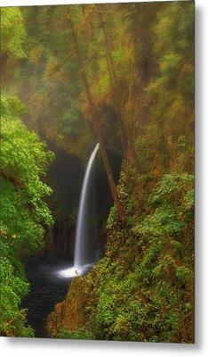 Foggy Metlako Falls Metal Print by David Gn