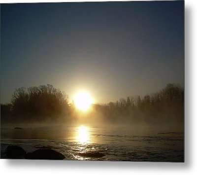 Metal Print featuring the photograph Foggy Mississippi River Sunrise by Kent Lorentzen