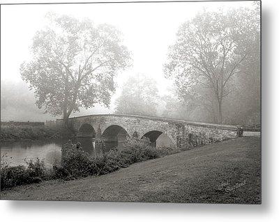 Foggy Morning At Burnside Bridge Metal Print by Judi Quelland