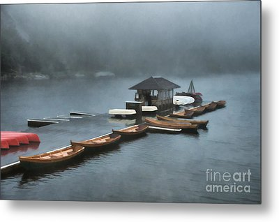 Foggy Morning At The Lake  Metal Print