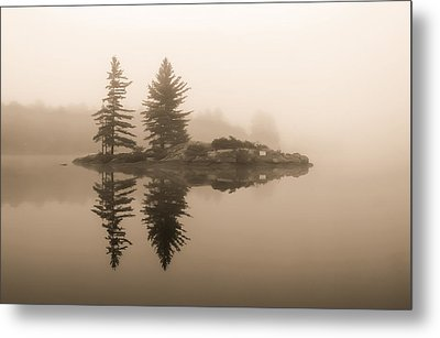 Foggy Morning Caution Metal Print