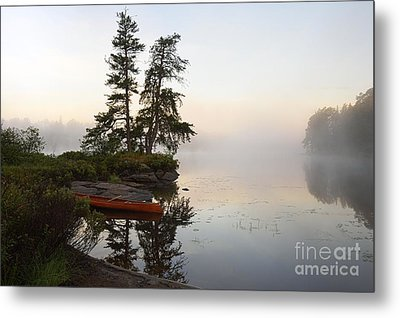 Foggy Morning On The Kawishiwi River Metal Print by Larry Ricker