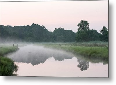 Foggy Morning Reflections Metal Print by Allan Levin