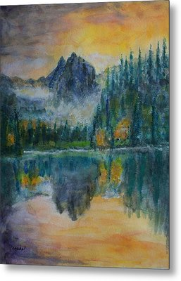 Foggy Mountain Lake Metal Print by David Frankel