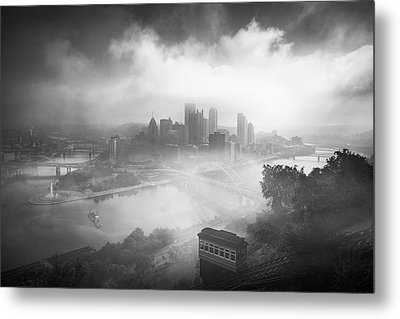 Metal Print featuring the photograph Foggy Pittsburgh  by Emmanuel Panagiotakis