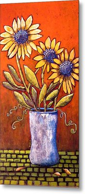 Folk Art Sunflowers Metal Print