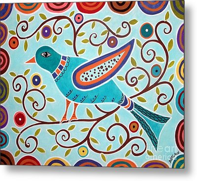 Folk Bird Metal Print by Karla Gerard