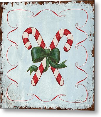 Folk Candy Cane Metal Print