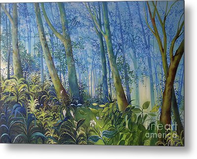 Follow Me Oil Painting Of A Magic Forest Metal Print