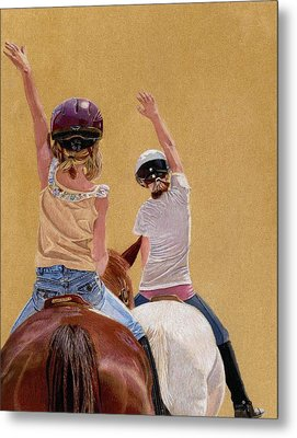 Follow The Leader - Horseback Riding Lesson Painting Metal Print
