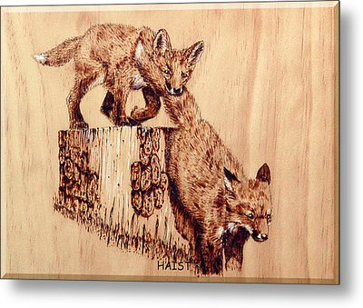 Metal Print featuring the pyrography Follow The Leader by Ron Haist
