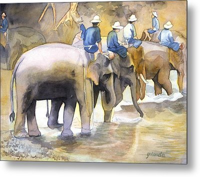 Metal Print featuring the painting Follow The Leader by Yolanda Koh