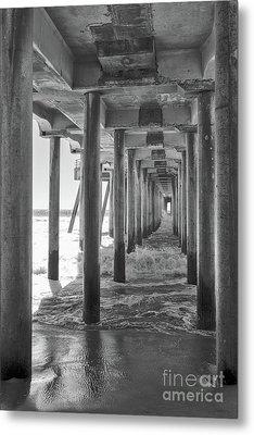 Follow The Lines Under Huntington Beach Pier Metal Print by Ana V Ramirez