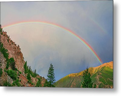 Follow The Rainbow To The Majestic Rockies Of Colorado.  Metal Print by Bijan Pirnia