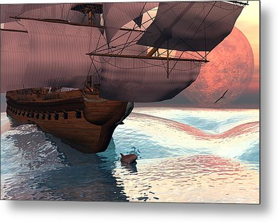 Following The Navigator Metal Print by Claude McCoy