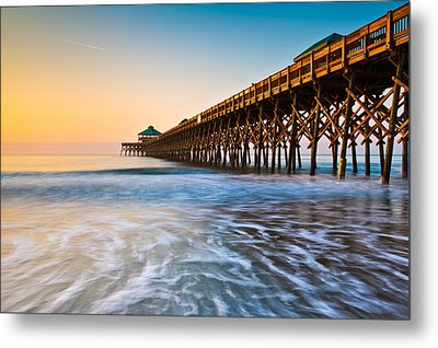 Folly Beach Pier Charleston Sc Coast Atlantic Ocean Pastel Sunrise Metal Print by Dave Allen
