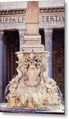Fontana Del Pantheon - Pantheon Fountain II Metal Print by Melanie Alexandra Price