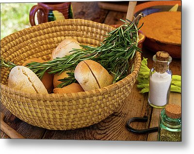 Metal Print featuring the photograph Food - Bread - Rolls And Rosemary by Mike Savad