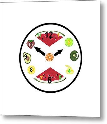 Food Clock Metal Print