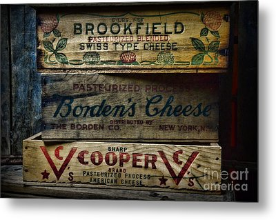 Food - Vintage Wooden Cheese Boxes Metal Print by Paul Ward