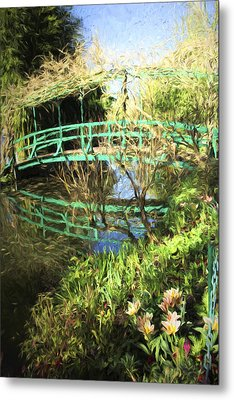 Foot Bridge Reflections In Monet's Garden Metal Print