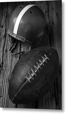 Football And Helmet In Black And White Metal Print