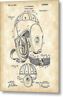 Football Helmet Patent 1927 - Vintage Metal Print by Stephen Younts
