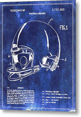 Football Helmet Patent Blueprint Drawing Metal Print
