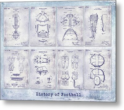 Football Patent History Blueprint Metal Print